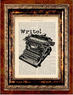 Book Page Print  TYPEWRITER WRITE Vintage Art by newdayprints