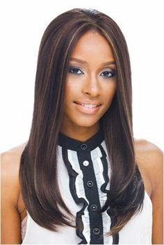 """Full Lace ISABEL wig by Janet Collection-color-2 by Beauty Plus Trading Inc. $47.99. Lenght: approximately 18"""". Janet Collection wig (Black pearl series). Color displayed on model: FS4/27. Style: Straight Smooth texture, no bang.. Synthetic full lace wig made by Janet Collection."""