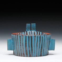 Mike Helke Description:mid range stoneware with stained shino glazeDimensions:4.75x7.5x4.75