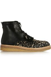 Jimmy Choo Halden leopard-print raffia and leather ankle boots