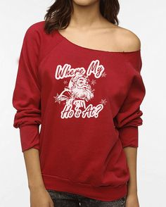 Where My Hos At Santa Christmas Womens Cutoff Oversized Sweatshirt  **SPECIAL Holiday Price for a LIMITED time only!! This listing if for the red