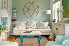 blue green shabby chic living room - Google Search