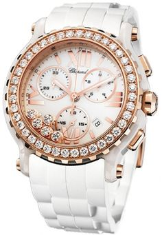 Chopard Happy Sport White Diamond Dial Chronograph Ladies Watch 288515-9002. White ceramic case with a white rubber strap. Fixed bezel set with diamonds bezel. White dial with 5 floating diamonds dial with luminous hands and index hour markers. Minute markers around the outer rim.  $21,119.00  #Chopard #LuxuryWatches