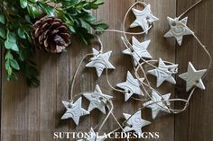 Mini Star Garland | Christmas Clay Tags 2015 | Collection of handmade clay tags for your holiday decorating. Use for Christmas tree ornaments, gift tie-ons, garlands, napkin holders and more.