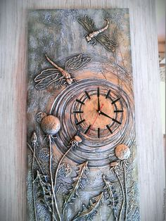 """Clock-relief """"Dragonflies"""" – buy or order … – Clock World Glue Art, Handmade Clocks, Altered Canvas, Plaster Art, Metal Embossing, Free To Use Images, Clock Art, Mural Art, Mixed Media Canvas"""