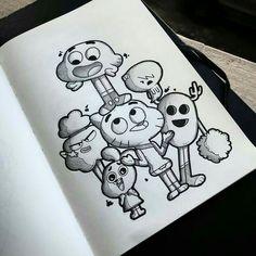 Minha Arte amazing world of gumball Lynn Harrison. Cute Doodle Art, Doodle Art Designs, Doodle Art Drawing, Cool Art Drawings, Cute Doodles, Pencil Art Drawings, Art Drawings Sketches, Sketch Art, Disney Drawings