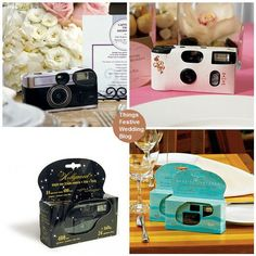 Themed Disposable Wedding Cameras & Photo Backdrops. I actually like this idea -- one per table??