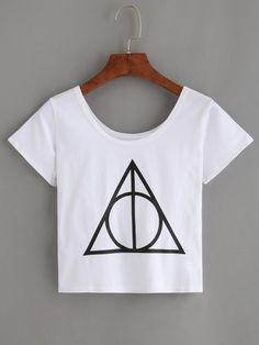 White Triangle Print Crop T-shirt