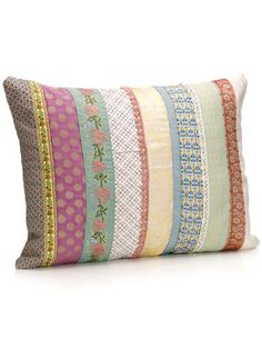 Love the fabric scraps as a pillow design.