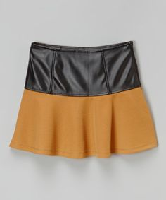 Loving this Khaki Faux Leather Skirt on #zulily! #zulilyfinds
