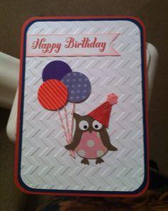 Stampin up birthday owl card by HandmadebySammieSays on Etsy, Birthday Cards For Boys, Handmade Birthday Cards, Happy Birthday Cards, Boy Cards, Kids Cards, Cute Cards, Owl Punch Cards, Karten Diy, Owl Card