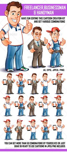 Freelancer Businessman and Handyman — Transparent PNG #vector #young • Available here → https://graphicriver.net/item/freelancer-businessman-and-handyman/2928296?ref=pxcr