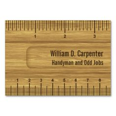 Handyman business card samples business careers pinterest wooden ruler or rule builder or carpenter business card accmission Choice Image
