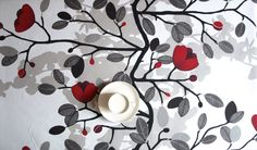 Tablecloth white black with red flowers beige shadow , also table runner , napkins , tea towels , CURTAINS available, great GIFT
