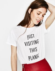 T-shirt with slogan - Tees - Bershka United States