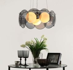 Smoky Grey Glass Pieces Pedant Light DIY Bedroom Room Living Room Ceiling Lamp   eBay