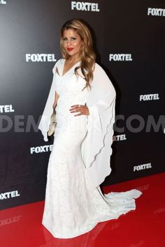 Real Housewives Of Melbourne Season 2 – Pettifleur wearing Leiela's White Fleur with Fishtail Gown for Foxtel Upfronts 2015 red carpet arrivals