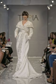 Yel Ana Winter white embroidered hand-woven ribbon tweed coat with duchess statin shawl collar. www.theiacouture.com