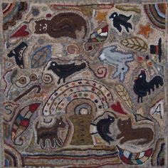 """""""Lollypop Tree & Menagerie"""" 24 x 24 rug - Magdalena style, hooked by Sunnie"""
