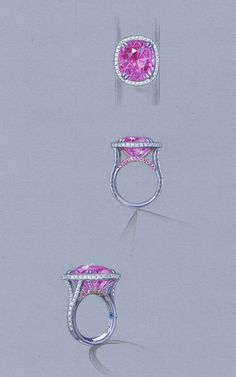 RO1005-PSCU Pink Sapphire ring rendering tight
