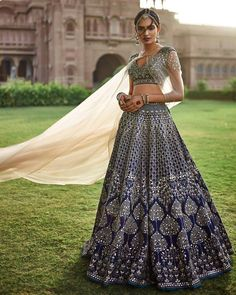 Feel the winter vibes with this navy lehenga. #shaadibazaar #wedding #indianwedding
