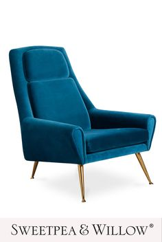 The Ultra Lounge chair combines style and comfort to create a perfect statement seat that oozes endless glamour and is cosy enough to curl up in with a good book! The rich, blue velvet is perfect for adding a pop of colour to any room of the home. #sweetpeaandwillow #jonathanadler #modernbluechair #loungechair #modernartdeco #contemporaryliving #moderninteriors Modern Dining Chairs, Living Room Chairs, Sweetpea And Willow, Lounge Chair, Modern Art Deco, Jonathan Adler, Sofa Upholstery, New Furniture, Luxury Furniture