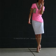 Love the pink!! I'd totally wear this to work! How to make a t-shirt business casual