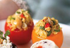 Tomates cerises à la salade de couscous #recette #bouchee