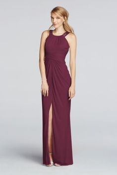 Set The Scene With This Light Weight Mesh Bridesmaid Dress A High Neck Beaded