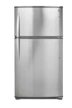 Top-Freezer Refrigerator with Ice Maker and LED Lighting in Stainless Steel with Active Finish, includes delivery and hookup Best Counter Depth Refrigerator, Apartment Size Refrigerator, Kenmore Refrigerator, Stainless Steel Refrigerator, Top Freezer Refrigerator, Freezer Burn, Glass Shelves, Adjustable Shelving