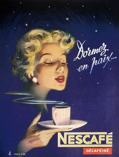 Vintage Advert Ad Poster - Nescafe decaf coffee, 1954