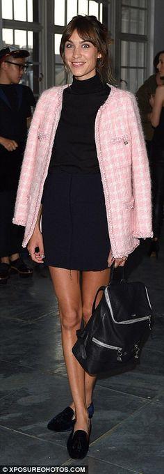 Alexa Chung in pink Chanel blazer and black mini dress