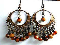 Orange brown Chandelier earrings Scroll by McKeeJewelryDesigns