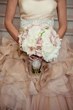 Pale pink roses & white peonies with a little bling on the wrap for glam…<3