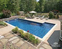 Small Backyard Ideas - Search outdoor decorating concepts and also redesign inspiration, consisting of one-of-a-kind landscapes, swimming pools, patios, and also patios to develop your very own exterior living space. Backyard Pool Landscaping, Backyard Pool Designs, Swimming Pools Backyard, Backyard Ideas, Landscaping Ideas, Back Yard Pool Ideas, Backyard With Pool, Backyard Layout, Backyard Projects