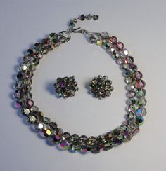 Vintage Double Strand Gray AB Faceted Crystal Beads Necklace with Matching Earrings. by Cosasraras on Etsy