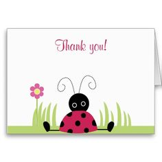 Little Ladybug Folded Thank you notes Card