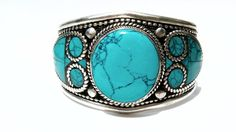 Turquoise bangle Turquoise bracelet White Metal Silver Miao Hill Tribe Native American Navajo Cherokee Tribal Indie Boho Bohemian Gypsy by ShopSparrow, $34.99