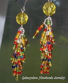 Multicolor Beaded Earrings Colorful Long Dangle by galaxyplace, $7.00