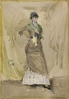 James McNeill Whistler - A Note in Green James Mcneill Whistler, Freer Gallery, Amber Tree, Le Moulin, Nocturne, Museum, Watercolor, History, Note