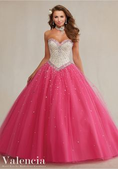 Quinceanera dresses by Vizcaya Layered Tulle with Beading Matching Stole included. Colors: Champagne/Hawaiian Pink, Champagne/Laguna.