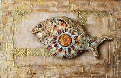 Символизм ручной работы. Ярмарка Мастеров - ручная работа. Купить Картина интерьерная акрил папье маше  Золото скифов. Handmade.