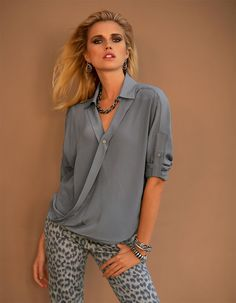 Blouse, pure silk in the color anthracite - grey - in the MADELEINE online collection