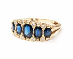 Five times the beauty.  #sapphire #fivestonering #vintage