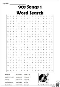 cool 90s Songs 1 Word Search