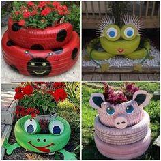 Pin on Yard: Art in 2020 Back Garden Landscaping, Garden Yard Ideas, Diy Garden Projects, Diy Garden Decor, Garden Crafts, Garden Tips, Tire Craft, Painted Tires, Tire Garden