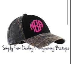 Personalized Monogrammed Camo hat cap by SimplySewDarling on Etsy