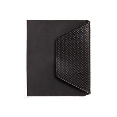 Matteo - Black Nylon with textured herringbone vegan leather I-Pad Case with Work Station from Luca Chiara