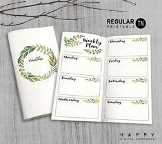Printable Traveler's Notebook Weekly Insert - Regular TN - Leaves