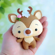 felt toys *** Please note that you will receive a digital file with patterns. No physical items will be sent *** Felt baby deer sewing pattern, cute woodland animal ). This little toy is Felt Animal Patterns, Stuffed Animal Patterns, Pdf Patterns, Felt Crafts Diy, Crafts For Kids, Bead Crafts, Fabric Crafts, Paper Crafts, Felt Christmas